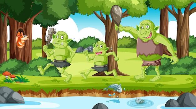 Personaje de dibujos animados duende o troll en la escena del bosque