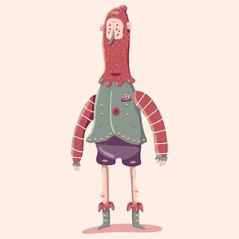 Personaje de dibujos animados de elfo de navidad aislado sobre fondo.
