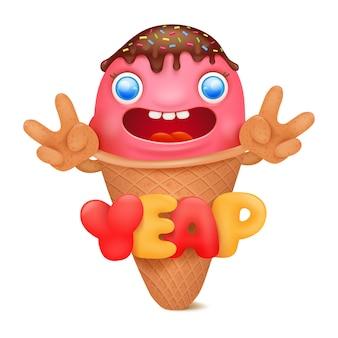 Personaje de dibujos animados de emoticonos de helado.