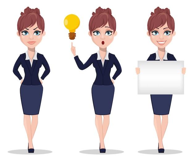 Personaje de dibujos animados de empresaria, conjunto de tres poses