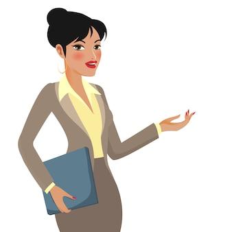 Personaje de dibujos animados empresaria haciendo presentaciones