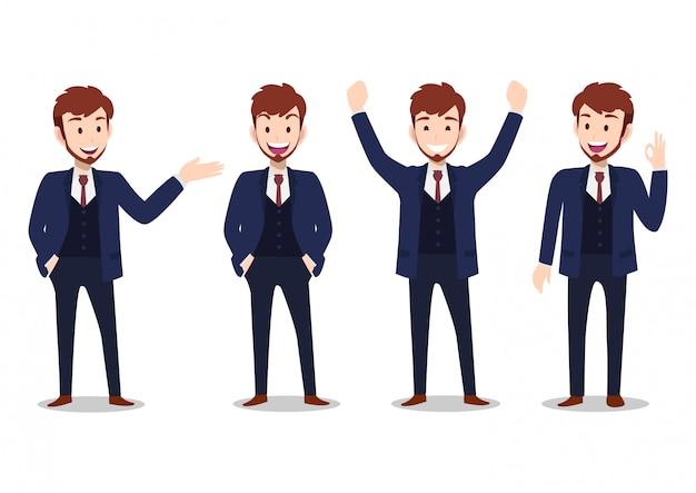 Personaje de dibujos animados empresario, conjunto de cuatro poses