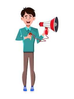 Personaje de dibujos animados de empresario con micrófono de mano