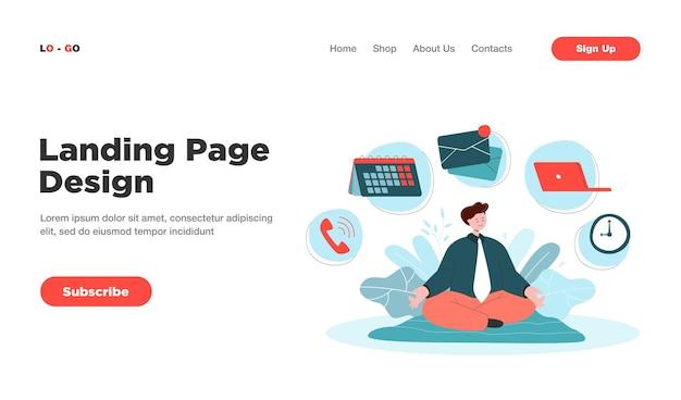 Personaje de dibujos animados empresario practicando yoga o página de inicio de meditación. página de destino