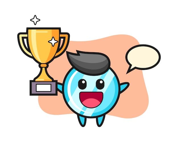 El personaje de dibujos animados del espejo es feliz sosteniendo el trofeo de oro
