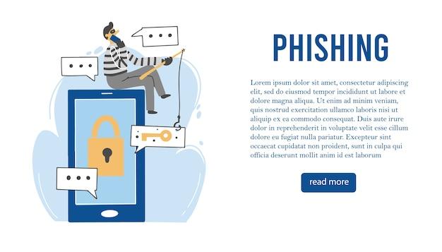 Personaje de dibujos animados de estafador y phishing por correo electrónico. banner de diseño plano.