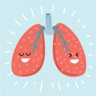 Personaje de dibujos animados de estilo primitivo de pulmones en diseño plano infantil