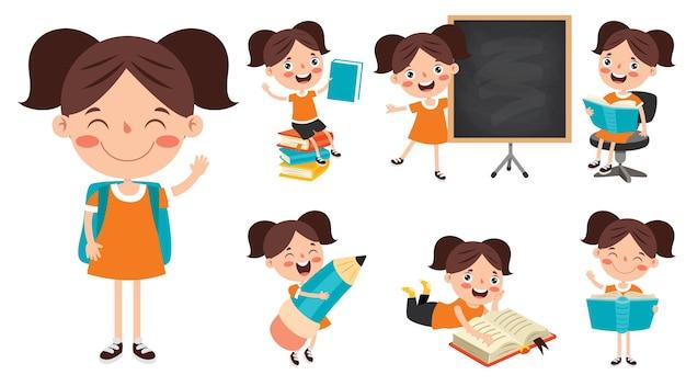 Personaje de dibujos animados estudiando y aprendiendo