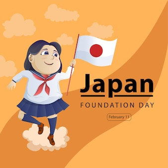 Personaje de dibujos animados de una estudiante japonesa para conmemorar el día de la fundación