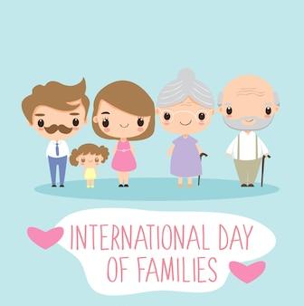 Personaje de dibujos animados de la familia linda