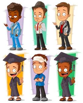 Personaje de dibujos animados feliz estudiante universitario