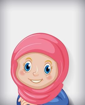 Personaje de dibujos animados feliz niña musulmana