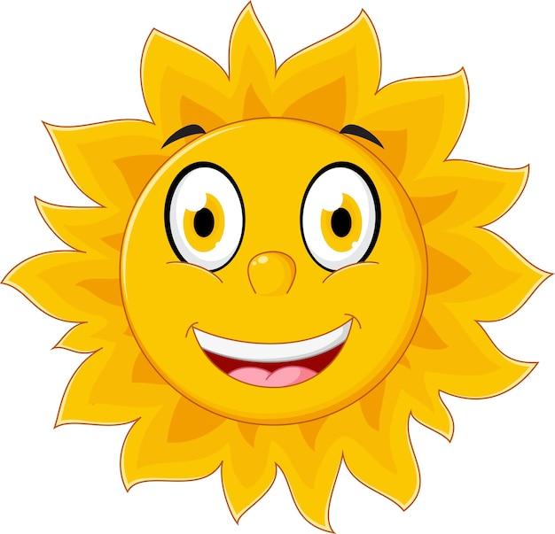 Personaje de dibujos animados feliz sol Vector Premium