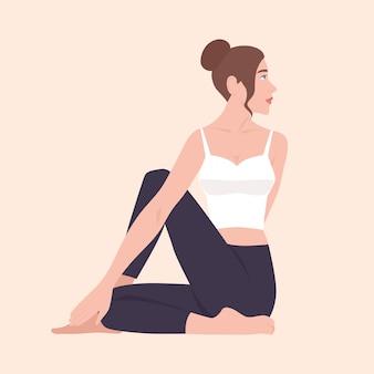 Personaje de dibujos animados femenino realizando ejercicios de yoga, fitness o gimnasia.