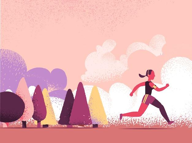 Personaje de dibujos animados femeninos corriendo al aire libre en la naturaleza