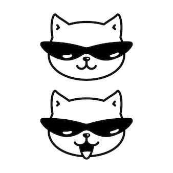 Personaje de dibujos animados de gafas de sol de gatito
