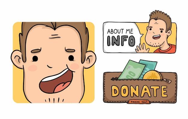 Personaje de dibujos animados gamer avatar retrato y donar botones