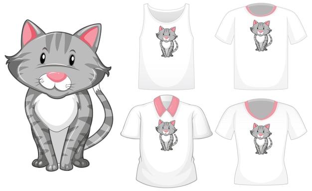 Personaje de dibujos animados de gato con un conjunto de camisetas diferentes aislado en blanco