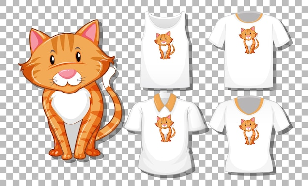 Personaje de dibujos animados gato con conjunto de camisetas diferentes aislado