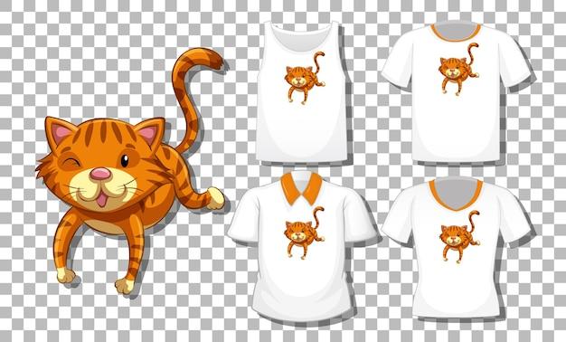 Personaje de dibujos animados de gato con conjunto de camisetas diferentes aislado