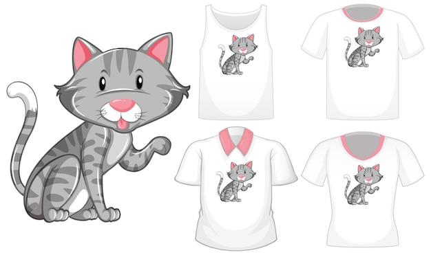 Personaje de dibujos animados de gato con un conjunto de diferentes camisetas aislado sobre fondo blanco.