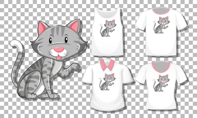 Personaje de dibujos animados de gato con conjunto de diferentes camisetas aislado sobre fondo transparente