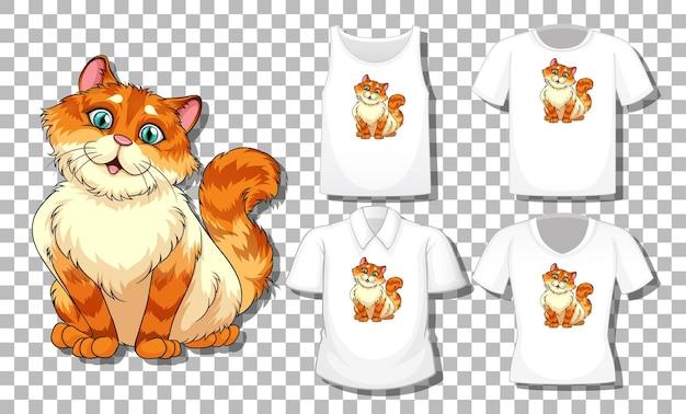 Personaje de dibujos animados de gato con conjunto de diferentes camisetas aislado en transparente