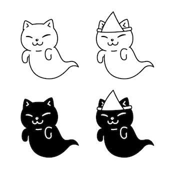 Personaje de dibujos animados de gato fantasma de halloween