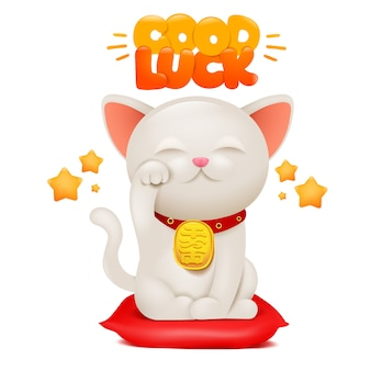 Personaje de dibujos animados de gato japonés maneki neko con título de buena suerte.