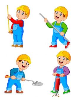 Personaje de dibujos animados de gente de trabajador de construcción en varias acciones