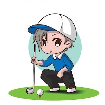 Personaje de dibujos animados de golf chico lindo