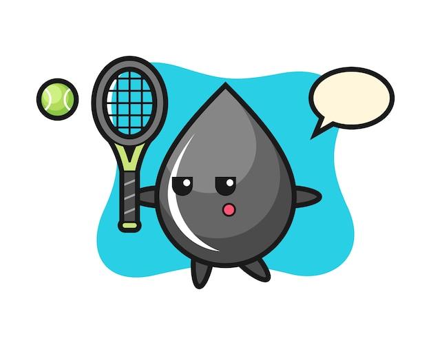 Personaje de dibujos animados de gota de aceite como tenista