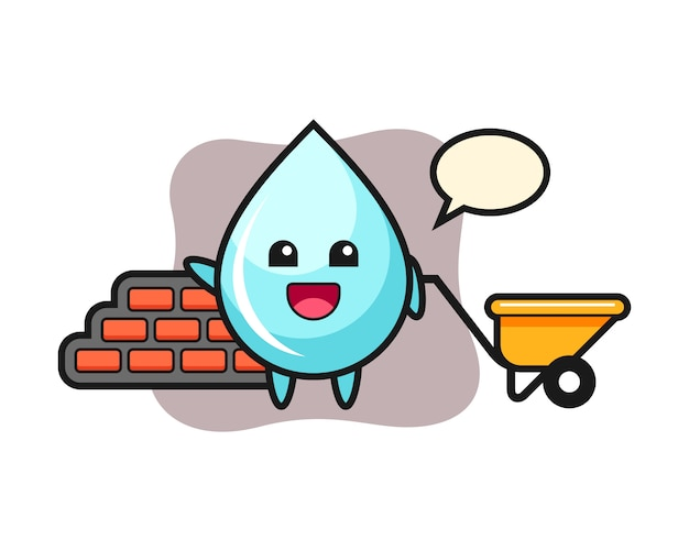 Personaje de dibujos animados de gota de agua como constructor, diseño de estilo lindo para camiseta