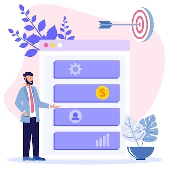 Personaje de dibujos animados gráfico de vector de ilustración de análisis empresarial