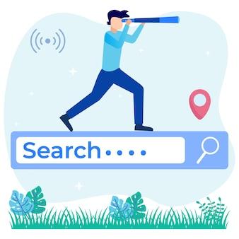 Personaje de dibujos animados gráfico de vector de ilustración de búsqueda