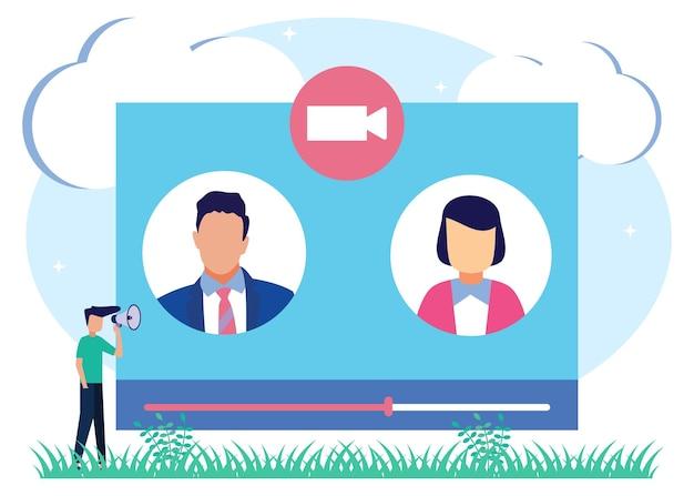 Personaje de dibujos animados gráfico de vector de ilustración de comunicación web de larga distancia