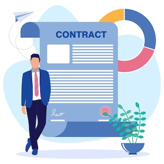 Personaje de dibujos animados gráfico de vector de ilustración de contrato comercial