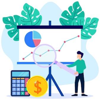 Personaje de dibujos animados gráfico de vector de ilustración de crecimiento empresarial