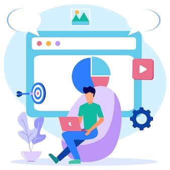 Personaje de dibujos animados gráfico de vector de ilustración de diseño web