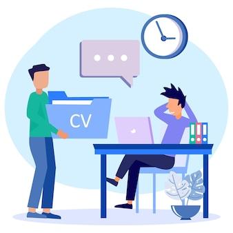 Personaje de dibujos animados gráfico de vector de ilustración de entrevista
