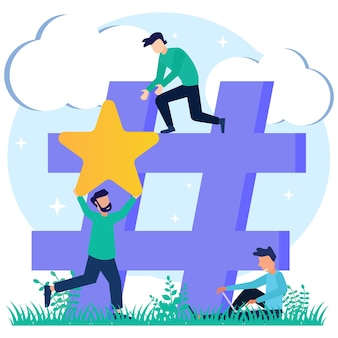 Personaje de dibujos animados gráfico de vector de ilustración de hashtag
