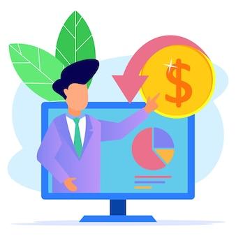Personaje de dibujos animados gráfico de vector de ilustración de ingresos comerciales