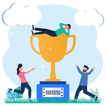 Personaje de dibujos animados gráfico de vector de ilustración de logro empresarial