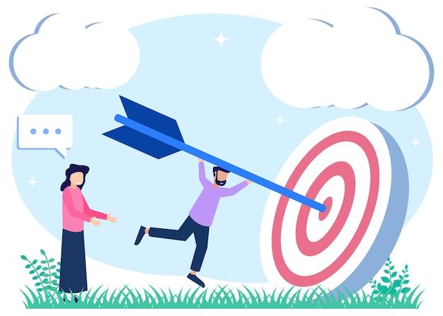 Personaje de dibujos animados gráfico de vector de ilustración del objetivo empresarial