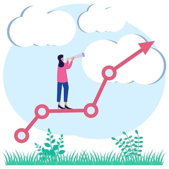 Personaje de dibujos animados gráfico de vector de ilustración de planes de negocios futuros