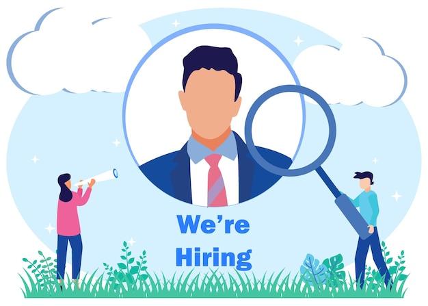 Personaje de dibujos animados gráfico de vector de ilustración de reclutamiento