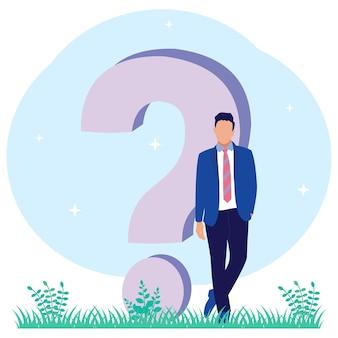 Personaje de dibujos animados gráfico de vector de ilustración de responder preguntas