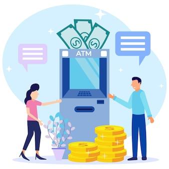 Personaje de dibujos animados gráfico de vector de ilustración de retiro de dinero