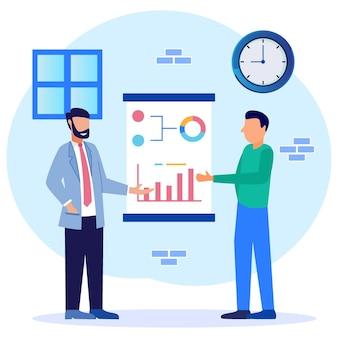 Personaje de dibujos animados gráfico de vector de ilustración de reunión