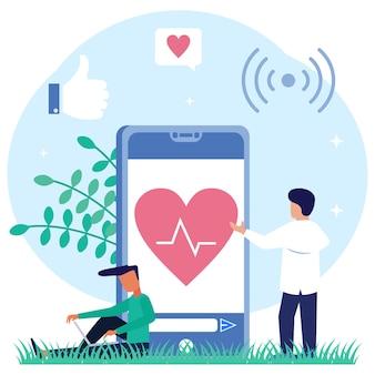 Personaje de dibujos animados gráfico de vector de ilustración de servicios médicos en línea